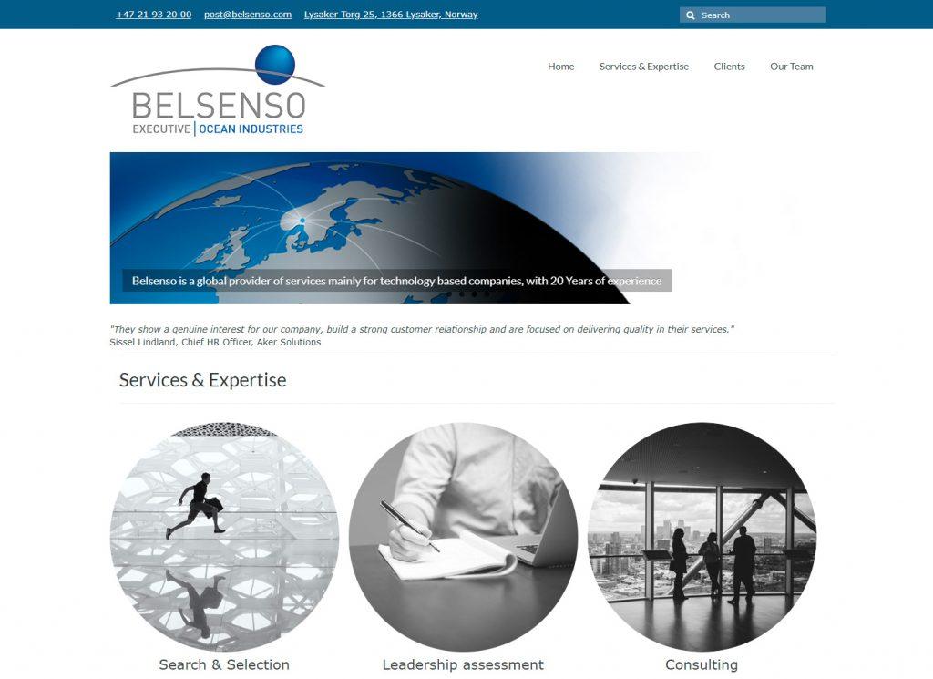 Nettsiden Belsenso.com 2016