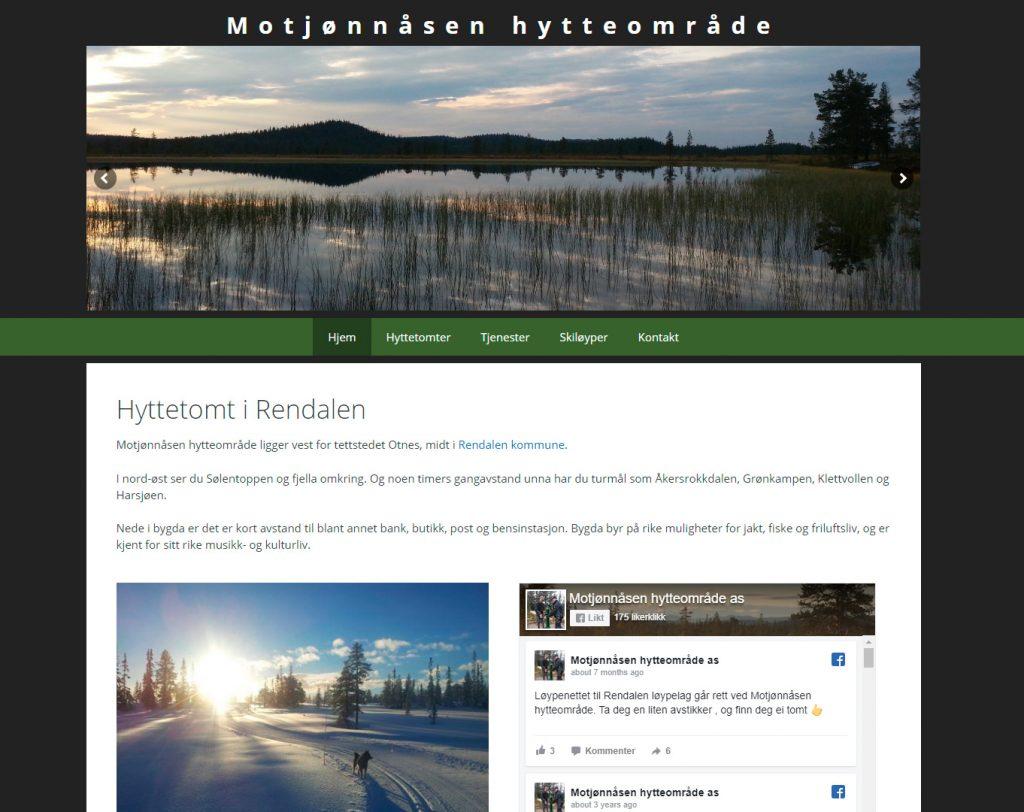 Nettside laget for Motjønnåsen hyttefelt 2015