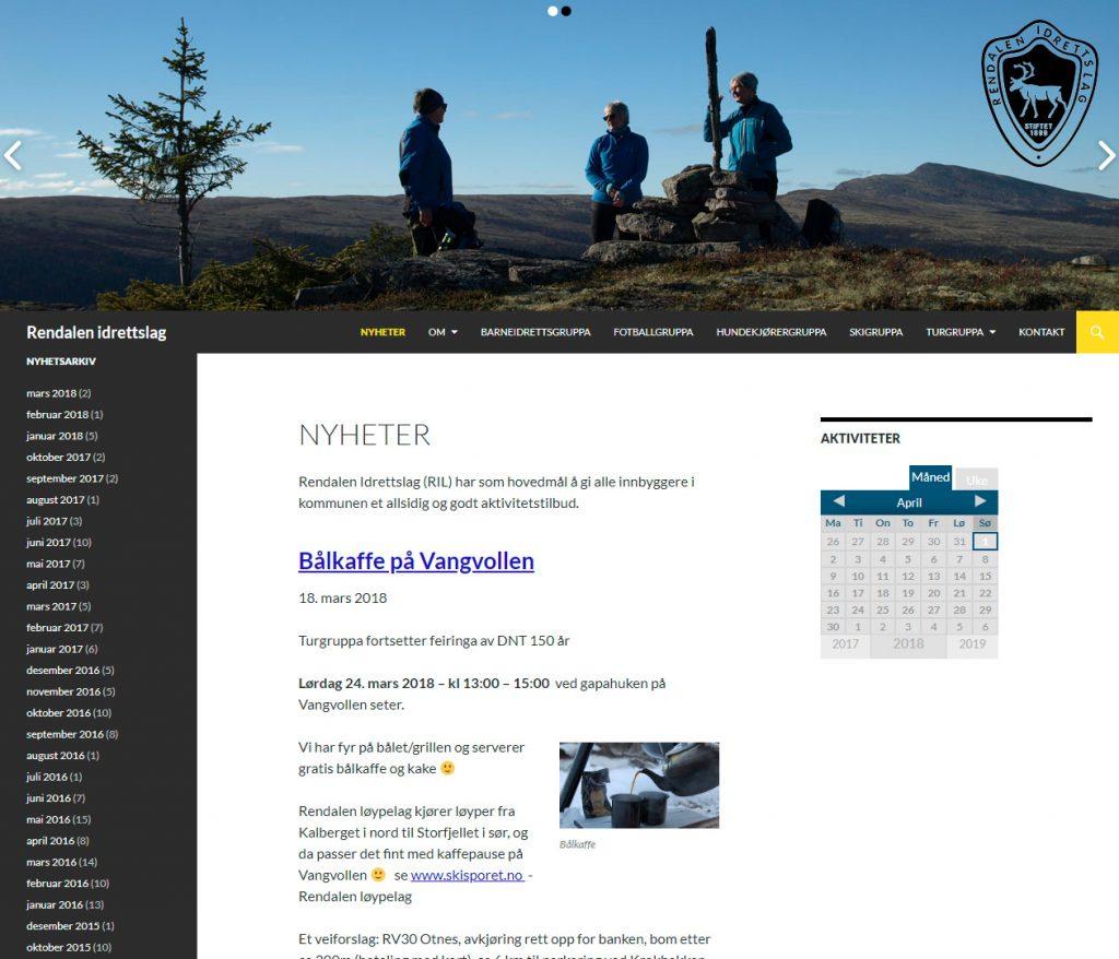 Nettside Rendalenidrettslag.no 2014