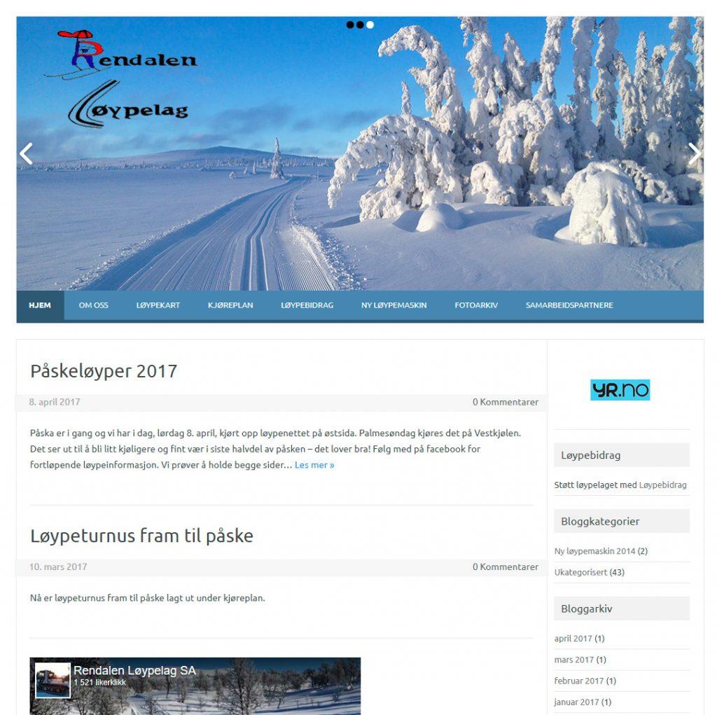 Nettside utarbeidet for Rendalen løypelag 2013
