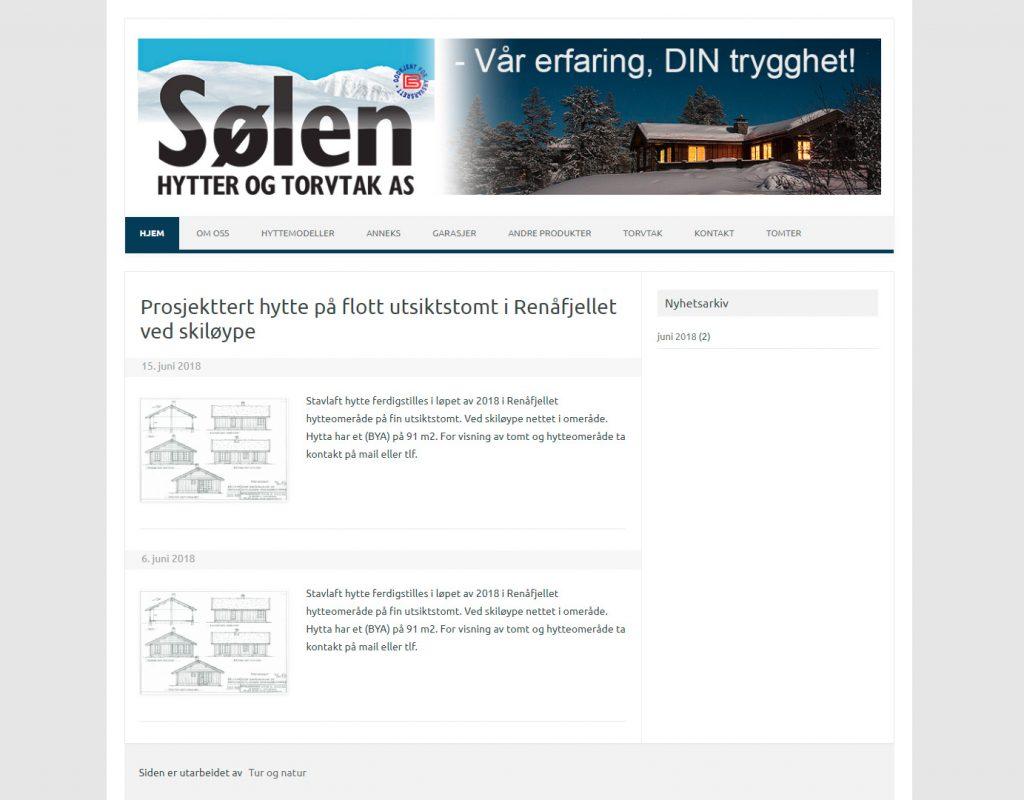 Nettside utarbeidet for Sølen hytter og torvtak 2014