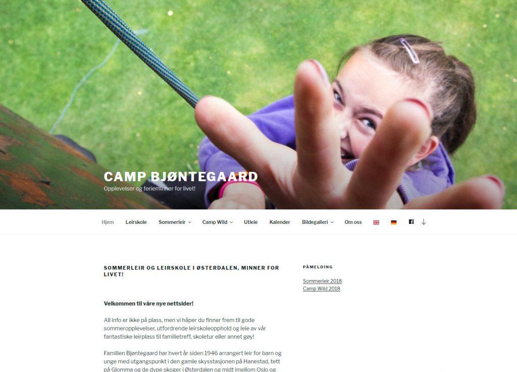Nettsiden Sommerleir.no laget for Camp Bjøntegaard 2018
